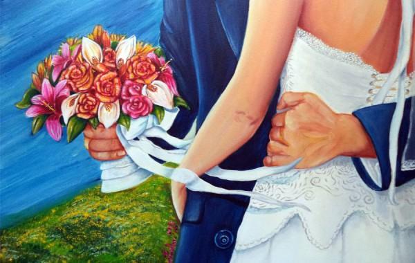 Novelli Sposi si abbracciano a Bracciano