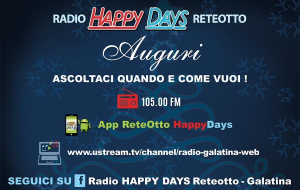 Cartolina natalizia Radio reteotto HappyDays (retro)