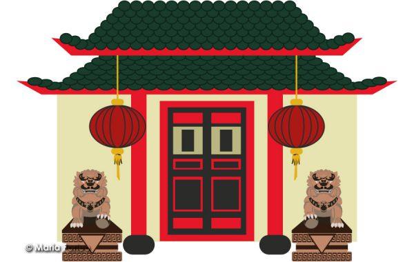 Ristorante cinese, disegno vettoriale