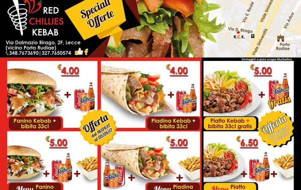 Flyer per Red Chillies Kebab, fronte